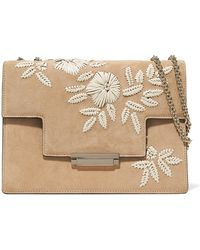 Aerin - Embroidered Suede And Leather Shoulder Bag - Lyst