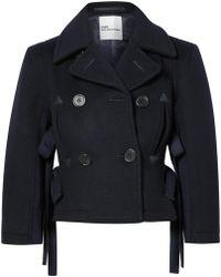 Noir Kei Ninomiya - Double-breasted Cropped Wool Jacket - Lyst
