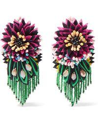 Etro - Crystal, Bead And Felt Clip Earrings - Lyst