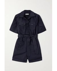 Equipment Paulena Belted Cotton-blend Twill Playsuit - Blue