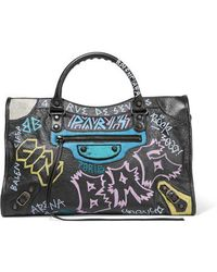 Balenciaga - Classic City Printed Textured-leather Tote - Lyst