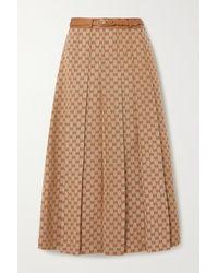 Gucci Belted Leather-trimmed Linen-blend Jacquard Midi Skirt - Natural