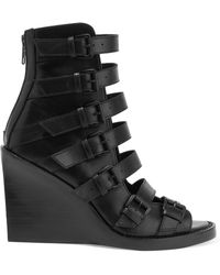 Ann Demeulemeester - Buckled Leather Wedge Sandals - Lyst
