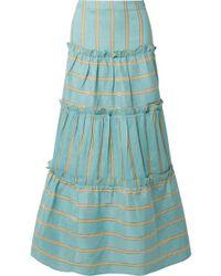 Paper London Women's Coquilllage Midi Skirt - Blue