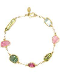 Tai Black Enamel Evil Eye Bracelet Gallery Pippa Small 18 Karat Gold Tourmaline Lyst