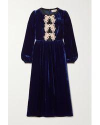 Saloni Robe Midi En Velours À Appliqués Camille Bows - Bleu
