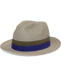 Eres Leone Grosgrain-trimmed Woven Paper Panama Hat - Multicolor