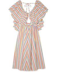 Rosie Assoulin - Open-back Ruffled Striped Seersucker Dress - Lyst