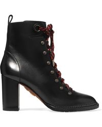 Aquazzura - Hiker Lace-up Studded Leather Ankle Boots - Lyst