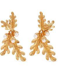 Oscar de la Renta Gold-tone Faux Pearl Clip Earrings - Metallic