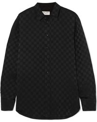 Saint Laurent - Checked Silk-jacquard Shirt - Lyst