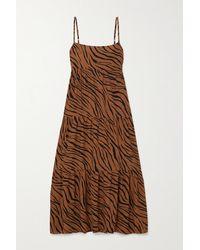 Faithfull The Brand + Net Sustain Corvina Tiger-print Crepe Midi Dress - Brown