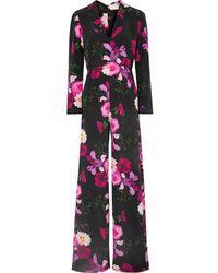 Seren Exclusive Betty Floral-print Silk Crepe De Chine Jumpsuit - Black
