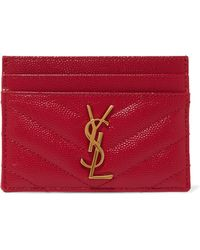 fe2c1986f0d1c Saint Laurent - Quilted Textured-leather Cardholder Red One Size - Lyst