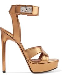 Givenchy - Shark Lock Cutout Metallic Leather Platform Sandals - Lyst