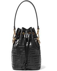 Fendi Mon Trésor Small Embossed Leather Bucket Bag - Black