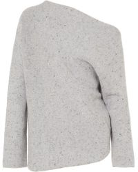 Narciso Rodriguez - One-shoulder Wool And Cashmere-blend Jumper - Lyst