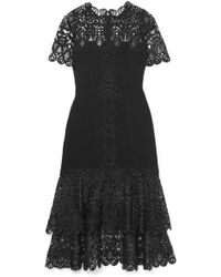 Jonathan Simkhai - Crepe And Guipure Lace Midi Dress - Lyst