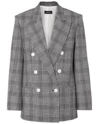 Isabel Marant Deagan Double-breasted Checked Cotton-blend Blazer - Gray