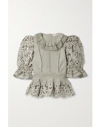 Ulla Johnson Mildred Broderie Anglaise Linen And Cotton-blend Blouse - Multicolour