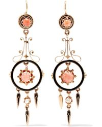 Fred Leighton - 1880s 14-karat Gold, Enamel, Coral And Pearl Earrings - Lyst