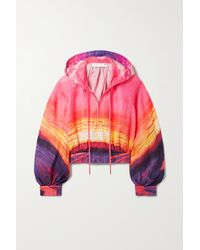 Zimmermann Shelly Cropped Hooded Printed Linen Jacket - Orange