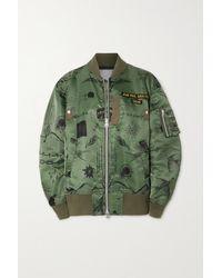 Sacai + Jean Paul Gaultier + Dr. Woo Appliquéd Printed Shell Bomber Jacket - Green