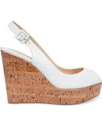 site réputé 9e3ee 649b6 Sandales Compensées À Brides En Cuir Plume Sling 100 - Blanc