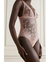 I.D Sarrieri Colette Embroidered Tulle Bodysuit - Pink