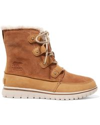 Sorel - Cosy Joan Faux Fur-lined Suede And Nubuck Ankle Boots - Lyst