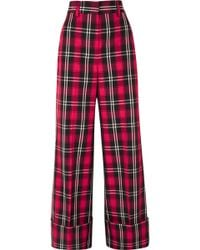 MSGM - Checked Palazzo Trousers - Lyst