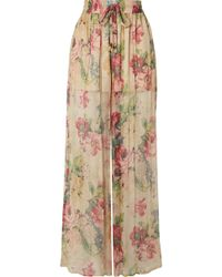 Zimmermann - Melody Floral-print Silk-crepon Wide-leg Pants - Lyst