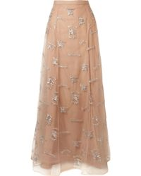 Burberry - Sybilla Embroidered Tulle Maxi Skirt - Lyst