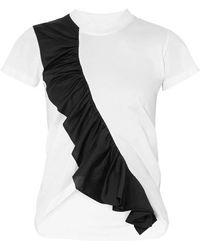 Marques'Almeida - Asymmetric Ruffled Two-tone Cotton-jersey T-shirt - Lyst