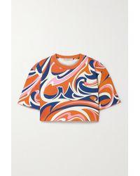 Emilio Pucci Verkürztes Oberteil Aus Bedrucktem Baumwoll-jersey - Orange