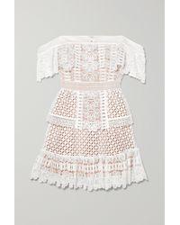 Self-Portrait Off-the-shoulder Guipure Lace Mini Dress - White