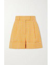 Miu Miu - Shorts Aus Wolle Mit Gingham-karo - Lyst