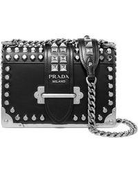 3e479a6517 ... promo code for prada cahier studded leather shoulder bag lyst 80040  de8f7