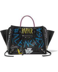 Balenciaga Papier Za A6 Graffiti Printed Textured-leather Tote - Black