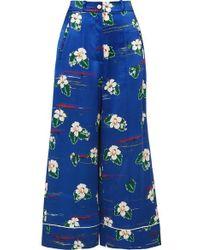 Racil Desert Cropped Floral-print Silk-satin Wide-leg Pants - Blue