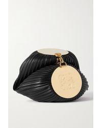 Loewe Bracelet Pleated Leather Shoulder Bag - Black