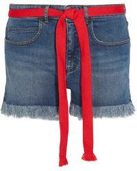 Sonia Rykiel - Grosgrain-trimmed Embroidered Frayed Denim Shorts - Lyst