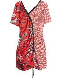 Kéji Asymmetric Printed Silk Mini Dress - Red