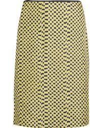 Kéji Gathered Printed Silk-twill Skirt - Yellow