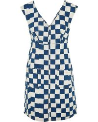 Kéji Checked Denim Mini Dress - Blue
