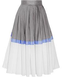 Vika Gazinskaya - Pleated Color-block Cotton-poplin Midi Skirt - Lyst