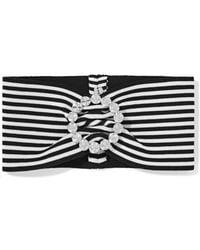 Alessandra Rich - Crystal-embellished Striped Stretch-cotton Headband - Lyst