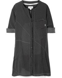 DKNY - City Vibe Pinstriped Washed-satin Nightdress - Lyst
