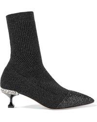 Miu Miu - Glittered Metallic Ribbed-knit Sock Boots - Lyst