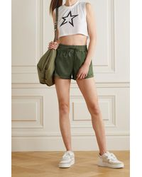 Perfect Moment Jersey-trimmed Shell Shorts - Green
